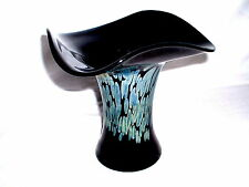 Sign. Eisch Vase 20 cm - Schwarzglas mit irisierenden Einschmelzungen