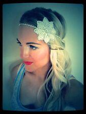 Plateado Blanco Perla Flor Diamante Diamante Cabello Head Band Tiara 1920 choochie