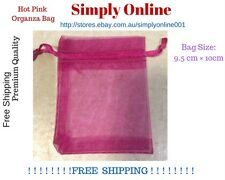 100 Pcs Hot Pink Organza Bags - wedding party favour - Gift Pouch - Free Postage