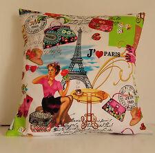 "Retro April In Paris Eiffel Tower Collage 16"" Cushion Cover"