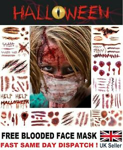 Halloween Zombie Scars Tattoos Fake Blood Mask Scab Wound Costume Makeup Stitch