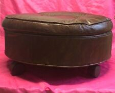 Vintage Round Brown Leather? Stool / Footstool / Ottoman on Wheels  - Nice!!