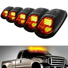 5pc Black Smoked Lens Amber LED Cab Roof Marker Running Lights For Truck SUV 4x4