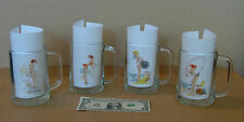 Vintage Pin Up Girls Drinking Mugs  / Glasses  ( Set of 4 )