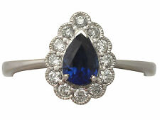 0.68 ct Sapphire and 0.39 ct Diamond, 18 ct White Gold Dress Ring - Contemporary