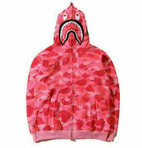 UK A Bathing Ape BAPE Men's Shark Jaw Camo Full Zipper Hoodie Sweats Jacket Coat