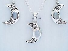 Celtic moon rainbow moonstone earrings pendant sterling silver set peter stone