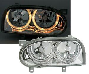 DEPO Angel Eyes Scheinwerfer Set für VW GOLF 3 in Klarglas Chrom Adapter 961059