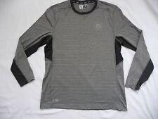 Rbx L Men's Performance Shirt Long Sleeve Grey Striped Body Dark Grey Trim