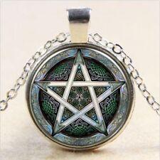 Pentagram Wiccan Cabochon Tibetan silver Glass Chain Pendant Necklace #38