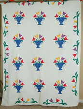 Nicely Quilted Vintage 30's Tulip Bouquet Applique Antique Quilt ~Nice Border!
