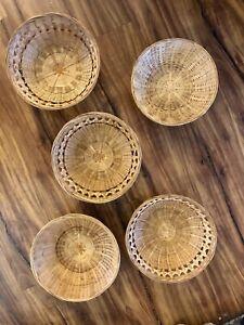 Set Of 5 Wicker Baskets Boho Rattan Basket Wall Decor Round