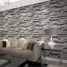 Modern/Retro 3D Wallpaper Bedroom Living Slate Dark Grey Brick Effect Stone Wall