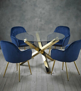 Dining set round glass table with gold legs and 4 blue velvet dining chairs