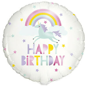 Happy Birthday Unicorn Party Hanging Decoration Rainbow Helium Air Foil Balloon