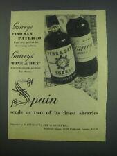 1957 Garveys Fino San Patricio and Fine & Dry Sherry Ad - Spain sends us two