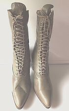 Vintage High Top Ladies Khaki Green Leather Shoes