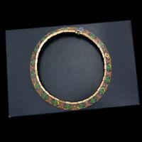 Antique Vintage Deco Retro Sterling Silver Gold NUR-BANU Enamel Collar Necklace