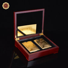 WR 24k Gold Plated Poker Golden 500 Euro PVC Playing Cards In Gift Box 2 Decks