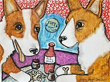 Aceo Corgi Bistro Dog Collectible Signed 2.5 x 3.5 Art Card Print Pembroke Welsh