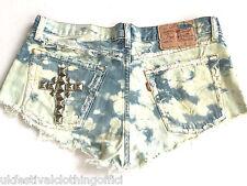 "Vintage Levi Acid Wash Blue Denim Cut Off Shorts. Studded Cross - Sz 14  W32"""