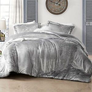 Soft Velvet Sherpa Faux Fur Alloy Silver King Queen Reversible Comforter 3 pcs