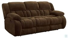 CHOCOLATE BROWN TEXTURED FLEECE RECLINING MOTION SOFA LIVING ROOM FURNITURE