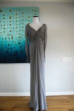 Pamella Roland  Gray Silk Ruched Full Length Long Sleeve Gown Size 10