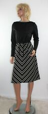 Vintage 70's Melissa Lane Black & White Stripe Long Sleeve Disco Dress  Size 12