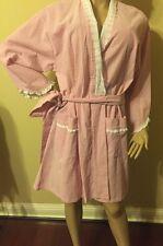 Eileen west Robe  Small / Medium long sleeves Short Red / White Seersucker