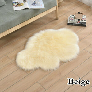 Soft Faux Fur Wool Carpet Non Slip Shaggy Cloud Shaped Area Rugs Bedroom Home