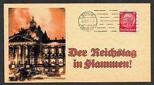 1933 Reichstag Fire Postcard Reprint On Original Period 1930s 3 X 6 Crd *089
