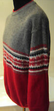 M&S 100% Lambswool Red/ Grey Sweater with Fair Isle Banding- Crew Neck ~ size L