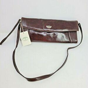 NEW L'Artigiano Sorrentino Leather Crossbody Envelope Shoulder Carry Bag Italy
