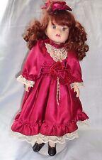Brass Key Doll Maroon Satin Dress Beige Lace Trim Auburn Hair 16 3/4in