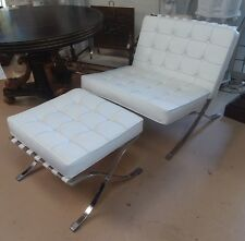 Mid Century Mies Van Der Rohe Barcelona Chair & Ottoman White Replica Midcentury