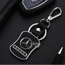 Car Keyring Key Ring Mercedes-Benz Real leather Stainless Steel Badge Emblem