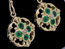 E024 Genuine SOLID 9K Yellow Gold NATURAL Emerald & Pearl Blossom Drop Earrings