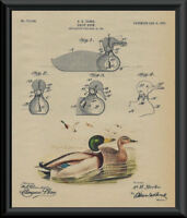1903 Duck Decoy Patent And Mallard Reprint On 100 Year Old Paper *P122
