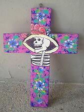 Large Wooden Cross with Catrina and Flowers - Pink - Mexico