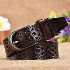 Women Hollow Out Waist Belts Faux PU Leather Waistband Metal Buckle Decor MP