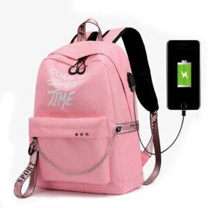 Mochila De Moda Letras Imprimir luminoso USB Carga Mujer Bolso De Escolar NIÑAS