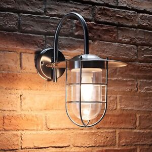 Auraglow Stainless Steel Outdoor IP44 Fishermans Wall Lamp with LED Light Bulb