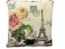 """Filled Paris France Floral Rose Tapestry Cotton Velvet Pink Cushion 18"""" 45cm"""