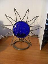 Set Iron Metal & Blue Glass Sun Moon & Stars Celestial Astrology Candle Holders