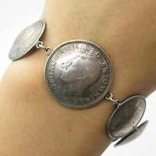 1943 1942 Silver GEORGIVS VI Great Britain Coin Bracelet 7.5""