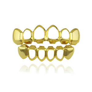 Hip Hop Grills Fit Hollow Top Bottom Set Gold Silver Color Bling Teeth Grillz