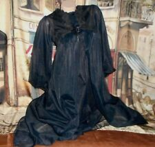 USA Small Black 2pc Peignoir Set Robe Gown Chiffon Billow Slv Crystal Pleats