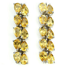 NATURAL PEAR 6x4mm RICH YELLOW CITRINE STERLING 925 SILVER JOURNEY DROP EARRINGS