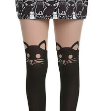 HOT TOPIC LOVE SICK KITTY CAT GARTER DESIGN FAUX THIGH HIGH TIGHTS ONE SIZE NEW